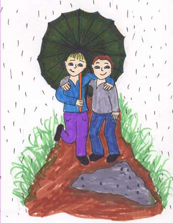 Image: A painting of two friends under an umbrella